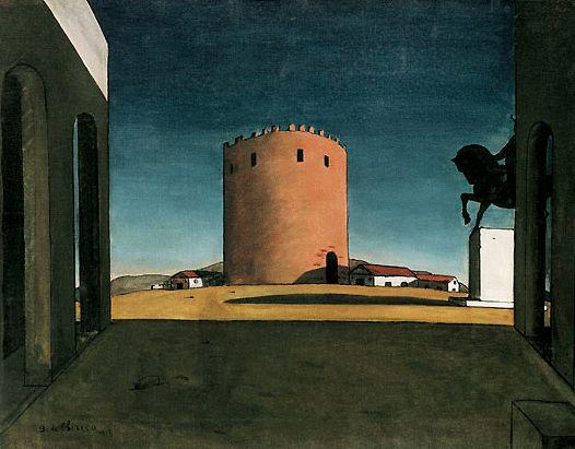 La tour rouge, 1913, Giorgio de Chirico, Venise, Collection Peggy Guggenheim