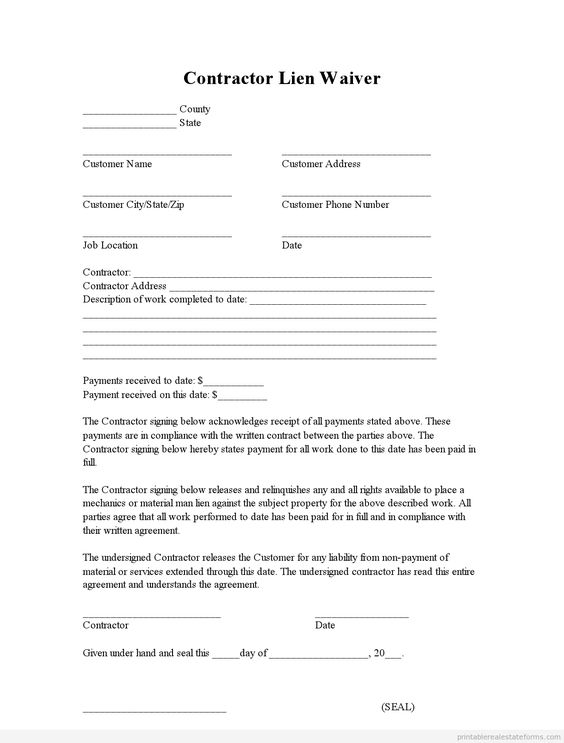 sample printable contractor lien waiver form printable real estate forms 2014 pinterest