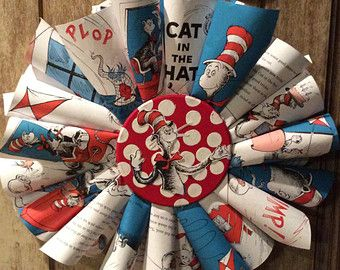 spring paper cone wreaths | Dr. Seuss Cat in The Hat Book Wreat h ...
