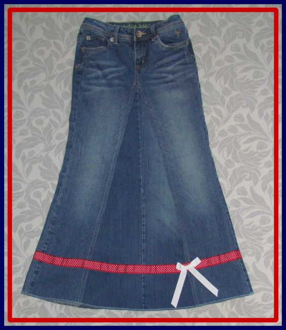Long Denim Jean Skirts | Girls Long Jean Denim Skirt size 14 by ...