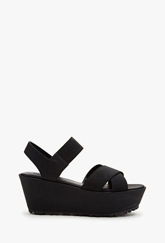 Crisscross-Strap Flatform Sandals   FOREVER21   #stepitup