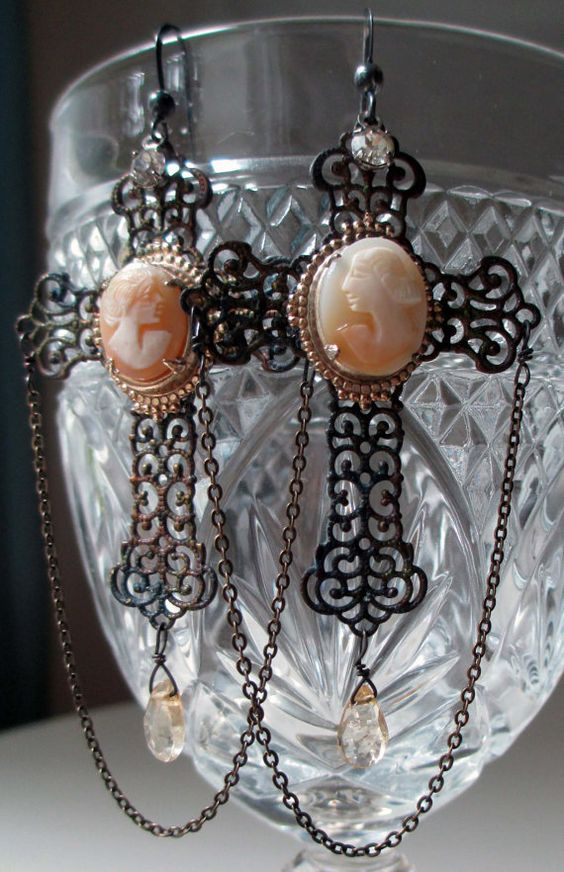 vintage assemblage earrings  CAMEO CROSSES  by TheFrenchCircus, $68.00