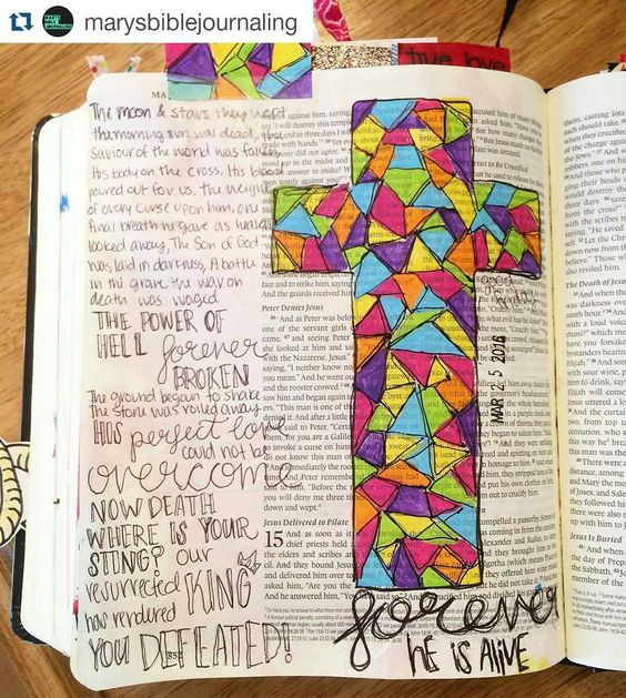 #Repost @marysbiblejournaling with @repostapp  'Forever' by @karijobe is my favorite Easter song. The lyrics are so true & they really pull at my heart a stained-glass cross & some beautiful lyrics! 'His body on the cross His blood poured out for us The weight of every curse upon him' happy #GoodFriday let's never forget what he did for us  #biblejournaling #biblejournalingcommunity #illustratedfaith #shepaintstruth #createdtocreate #journalingforjesus #easter #holyweek2016 by lewis.presley