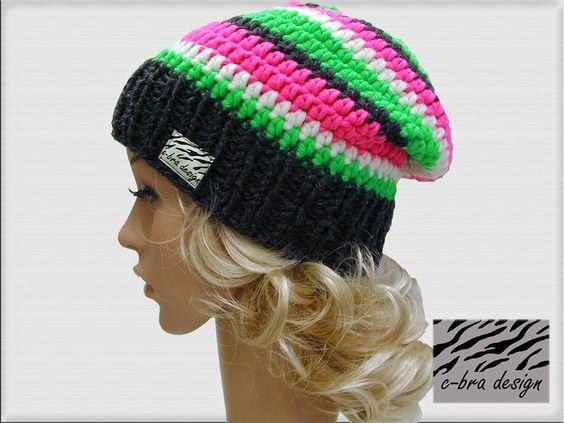 Häkelmütze Surfermütze Long-Beanie in den Trendfarben  anthrazit/neon-grün/natur/neon-pink  mit gestricktem Bund für perfekten Sitz   hochwertige M...