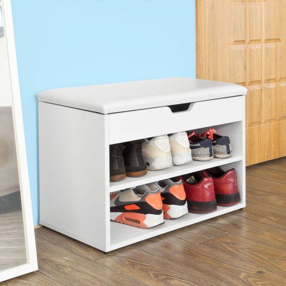 SoBuy® White 2 Tiers Shoe Storage Bench Shoe Cabinet with Padded Seat,FSR25-W,UK                                                                                                                                                                                 More