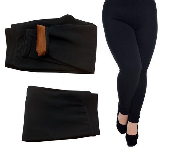 Large Size Women Winter Brushed Charcoal Fleece Double Thick Warm Leggings 9020