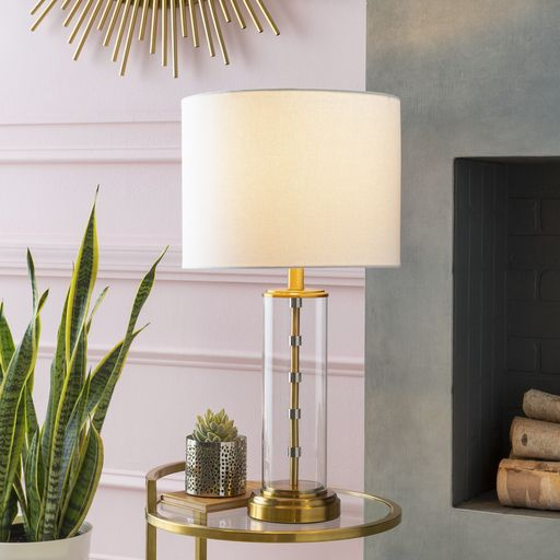 Surya S Perdida Table Lamp Features A Simple Design Of Clear Glass Cylinder Accented With Top And Bottom Metal Trim In Shimm Lamp Table Lamp Brass Table Lamps