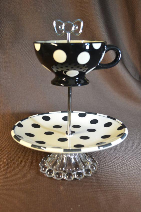 2 tier polka dot modern china tea cake stand black and for Gold polka dot china
