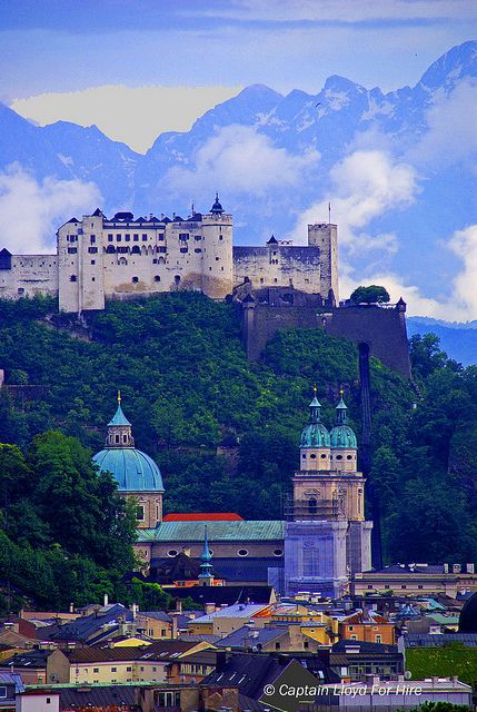 Hohensalzburg Fortress on Festungsberg Hill. The Castle overlooking Salzburg, Austria - This was so cool to see in person. The way it just looms over the town is intimidating.