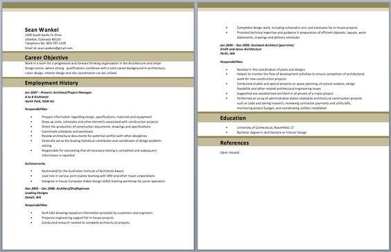 architect resume format
