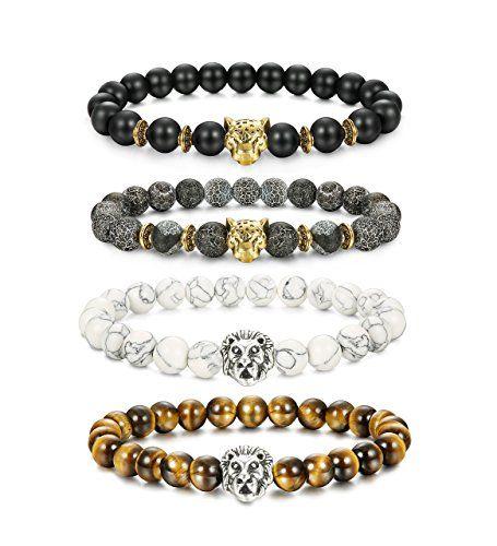 LOLIAS 4 Pcs Lava Rock Bead Bracelet for Men Leopard Lion bracelet Set Adjustable 8MM Beads Y