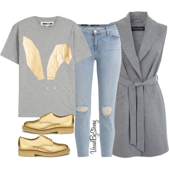 A fashion look from November 2015 featuring grey shirt, Miss Selfridge и J…