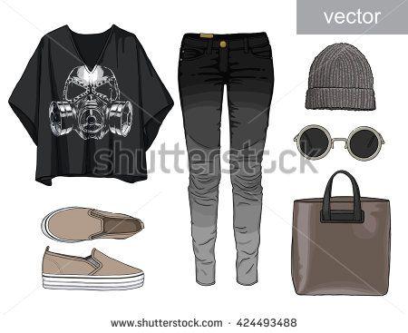 Lady fashion set of autumn, winter season outfit. Illustration stylish and trendy clothing. Denim, slip-on, jeans.
