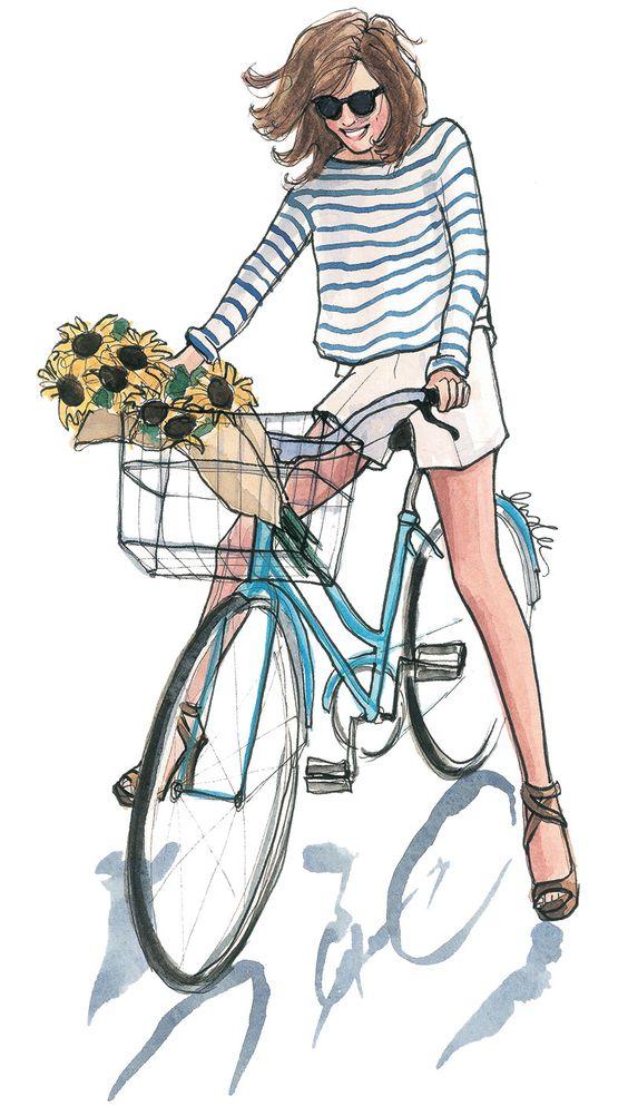 mujer en bici