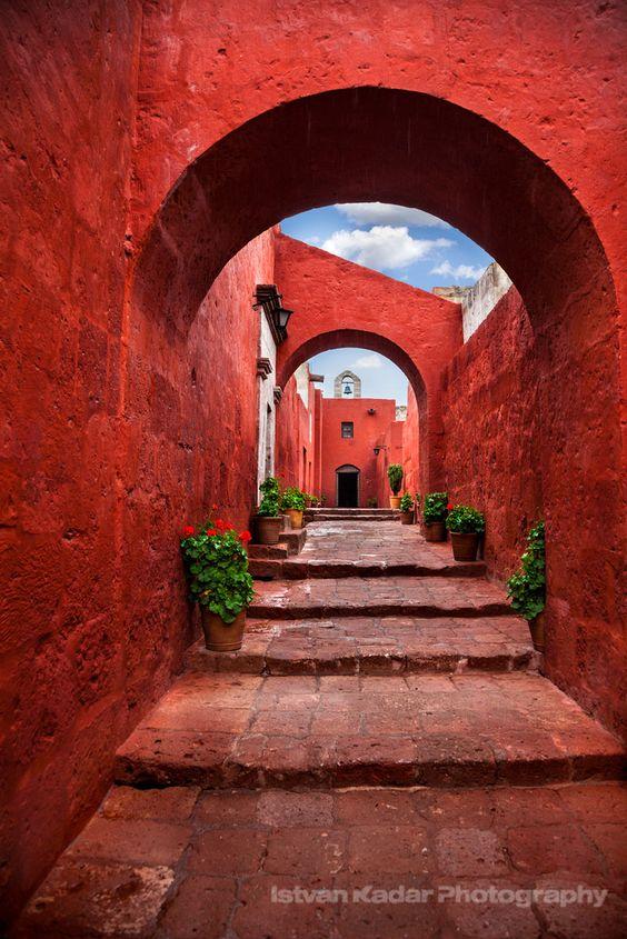 Sevilla Street, Santa Catalina Monastery, | Red, Mudéjar Style | Arequipa, Peru | by Istvan Kadar: