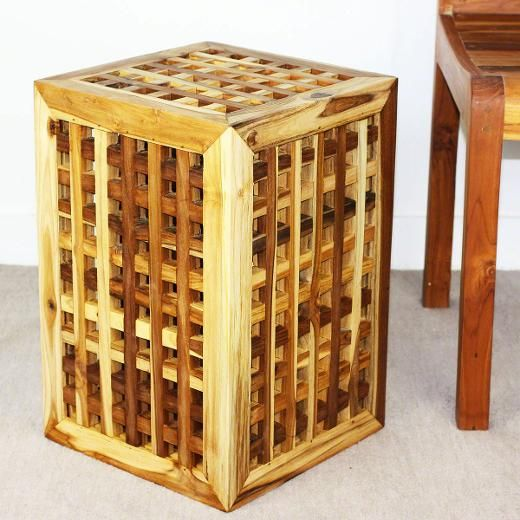 Thai furniture teak lattice work stool, stand or end table in a teak oil finish