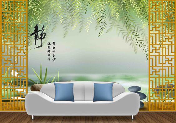 Tapisserie num rique papier peint 3d asiatique sur mesure paysage zen papie - Papier peint asiatique ...