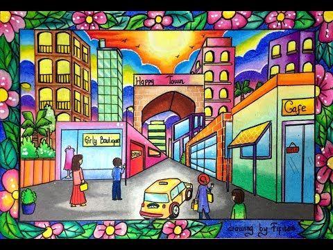 Cara Menggambar Pemandangan Kota Dg Gradasi Warna Oilpastel Titi 55 Warna Youtube Dengan Gambar Gambar Perspektif Gambar Buku Gambar