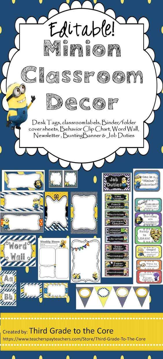 Deck your class out Minion style!! Editable labels, tags, newsletter, and more! Includes Behavior Clipchart and job duties!