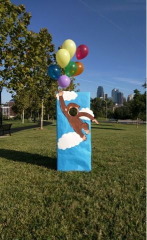 Wishes do come true...: Curious George face in hole party decorations carnival fun diy photo booth #curiousgeorge
