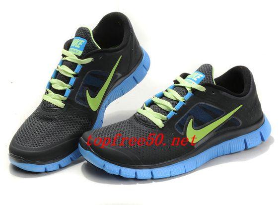 tS6002 Midnight Fog Volt Blue Glow Nike Free Run 3 Men's Running Shoes