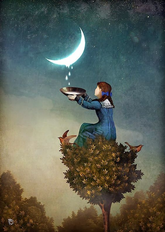 Story inspiration: the girl who collected moondrops and drank them. Moondrops - Christian Schloe