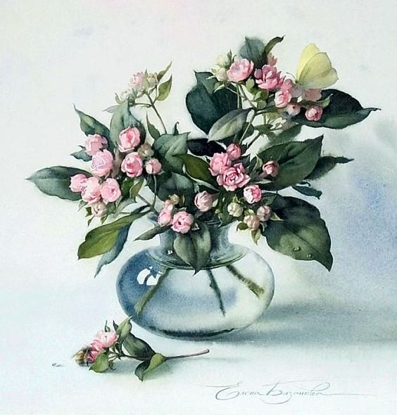 Акварели художницы Елены Базановой. Часть 5. Как распускаются цветы... Обсуждение на LiveInternet - Российский Сервис Онлайн-Дневников: