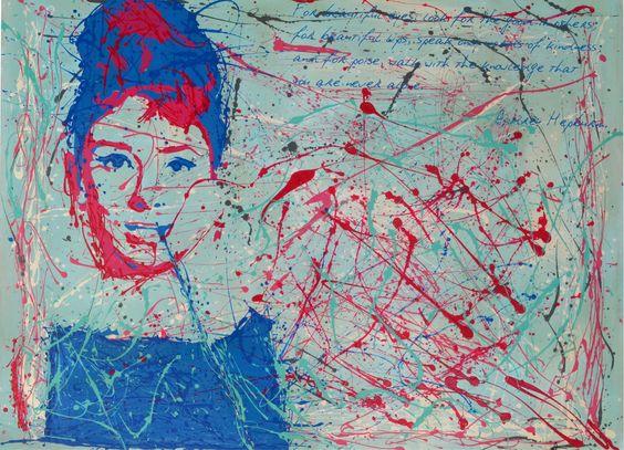 Audrey Hepburn 1.60x1.20 acrilico sobre madera en escurrido