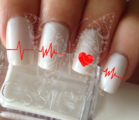 Heart Rate Line Nail Art Nail Water Decals Transfers Wraps