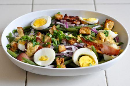 Salade Haricots Verts, Œufs et Bacon