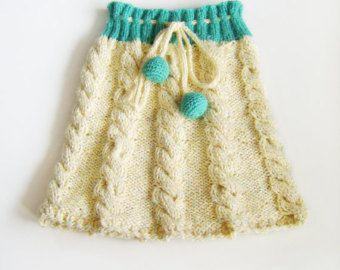 Hand Knitted Skirt - Pastel Yellow and Green