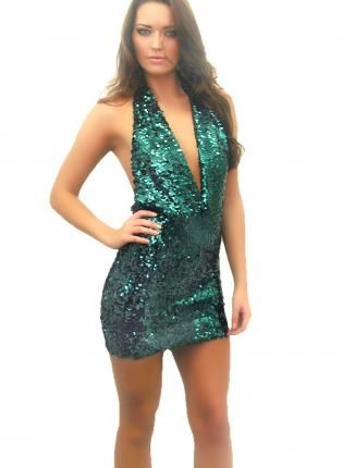 Fantasy Deep Green Halter Sequin Dress- Dress- sequin dress party ...