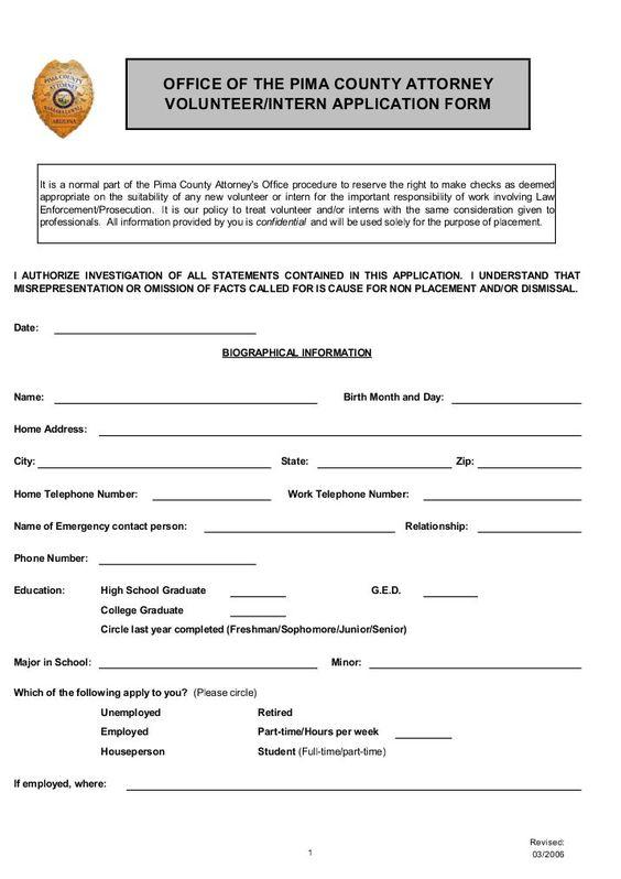 Volunteer-Intern Application Form - Pima County Attorney High - scholarship application form