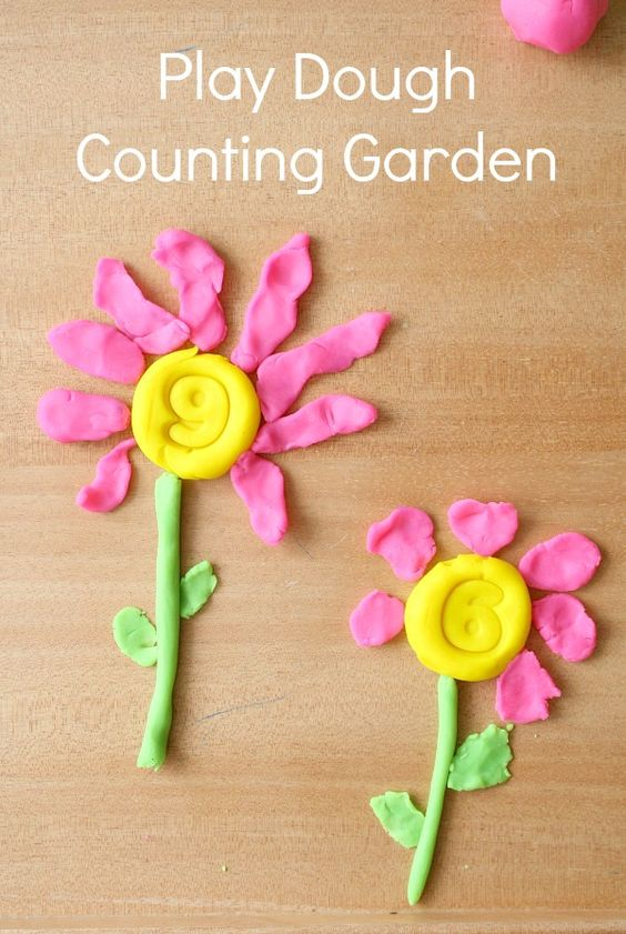 Preschool Math-Play Dough Counting Garden Spring Activity
