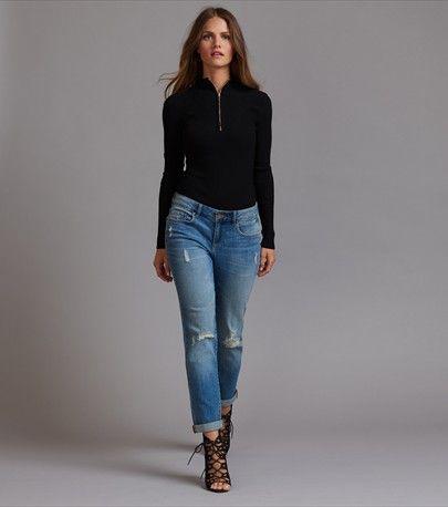 Jeans skinny bleu moyen usés et décontractés Cara
