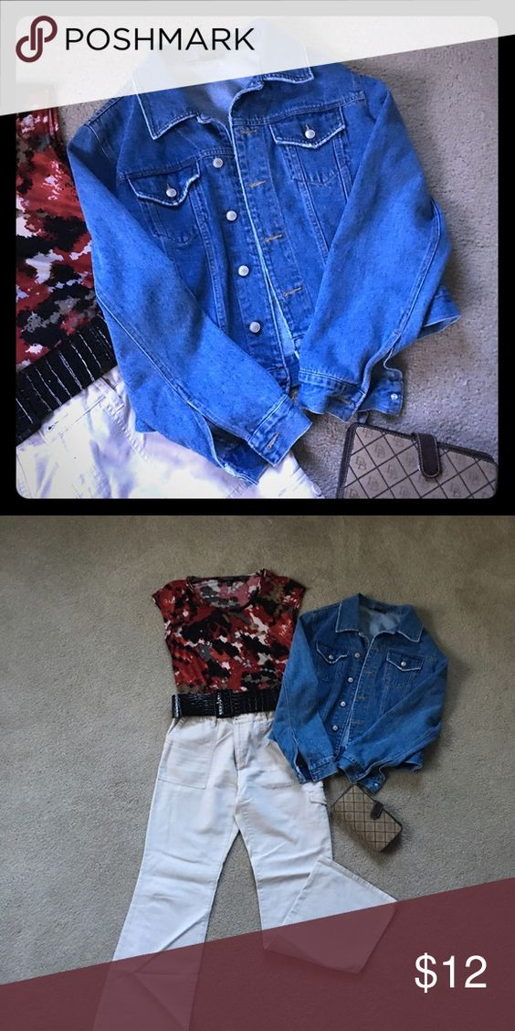 Rustic Blue Jean Jacket👜🕶👡 If you want a blue jean jacket to wear with your favorite Khakis or floral skirt this is it. Has some wear that gives it character. Front pockets. Button closure on sleeve. Boston Proper Jackets & Coats Jean Jackets