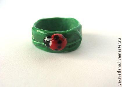 Кольца ручной работы. Ярмарка Мастеров - ручная работа кольцо с божьей коровкой. Handmade.