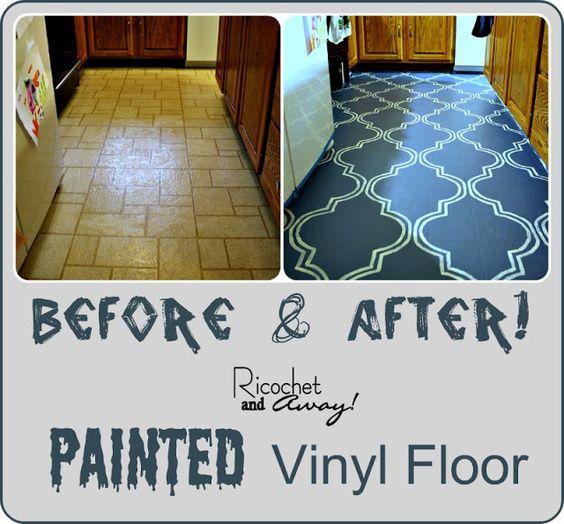 Painting Vinyl Floors ------Ricochet and Away!: I Painted My Vinyl Floor
