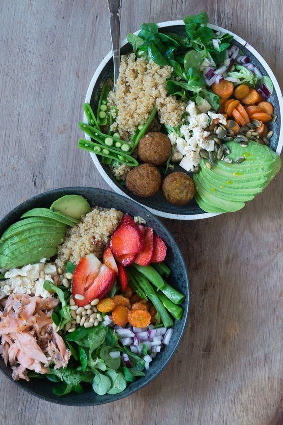 Salatbowls Med Bagte Gulerodder Quinoa Falafler Eller Laks Julie Bruun Slankemadopskrifter I 2020 Sunde Maltider Sund Mad Veggie Opskrifter