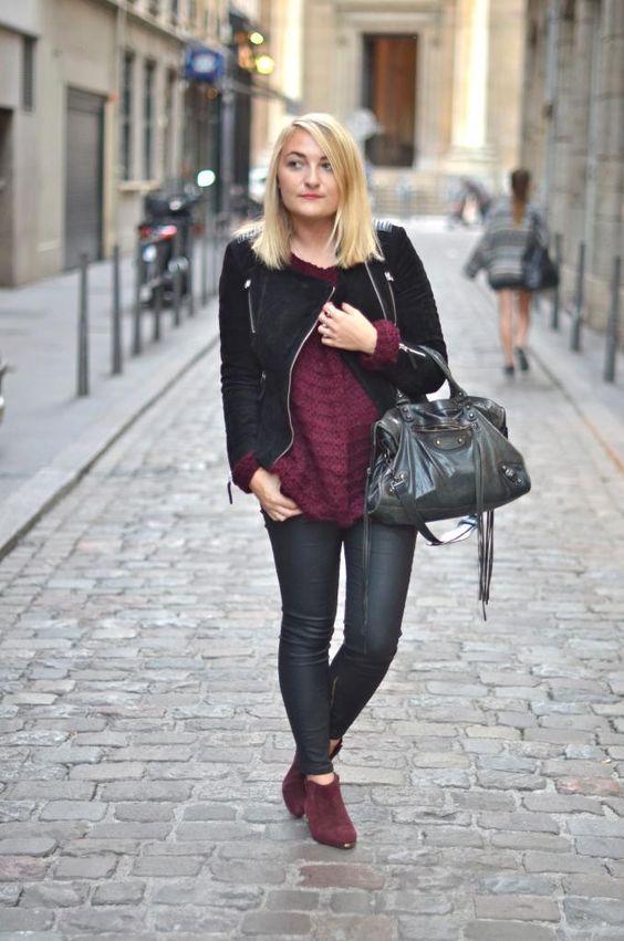 PARIS GRENOBLE - Blog mode Lyon  Clémentine adopte le cuir aspect velours et l'associe à de jolies touches de bordeaux.
