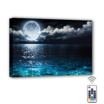 Moon Cloud Ocean Framed Led Canvas Painting In 2020 Frames For Canvas Paintings Modern Canvas Painting Canvas Painting