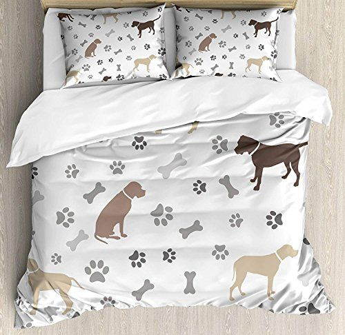 Dog Lover Quilted Bedspread /& Pillow Shams Set Canine Breeds Love Print