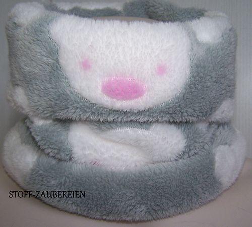 Kinder Loop Schlauchschal Schal kuschliger Fleece Bärchen grau weiß rosa NEU