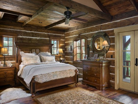 Milled log master bedroom idaho timber frame and milled for Freaky bedroom ideas