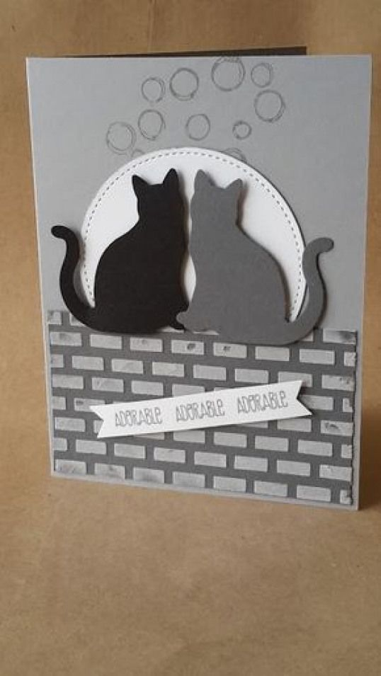 Handmade Stitched Cats on a Wall Birthday Any Occasion Blank Card