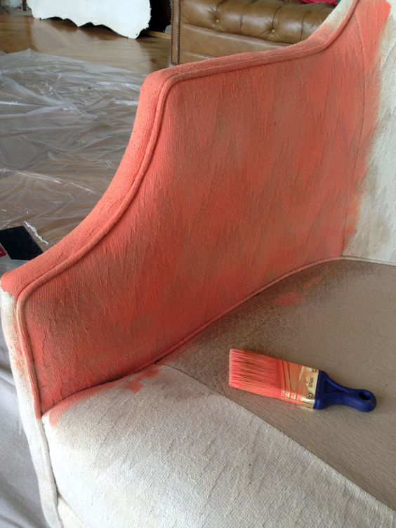 How To Paint Upholstered Furniture Basically Just Use A Watered Down Version Of Acrylic Paint