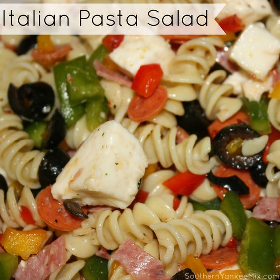 Italian Pasta Salad Recipe ~ pasta, green bell pepper, yellow bell pepper, red bell pepper, black olives, tomatoes, mini-pepperoni, salami, mozzarella cheese, parmesan cheese