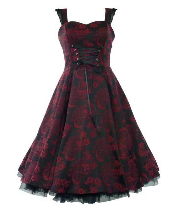 """Beautiful floral brocade 50's dress with black underskirt edged with black netting.  Elasticated shoulder straps finished with black lace.  Black satin corset ties to front.  Invisible zip to side.       Can be worn with or without a Hell Bunny 25"""" length petticoat to make the dress fuller (as per main picture).  Petticoat is not included with the dress but available to purchase separately in our shop.     MATERIAL: 60% Cotton, 37% Polyester, 3% Elastane    Length : Knee Length    Machine…"""