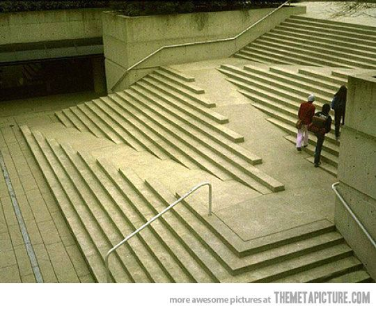 stairs with built in ramps for wheelchairs. Genius: