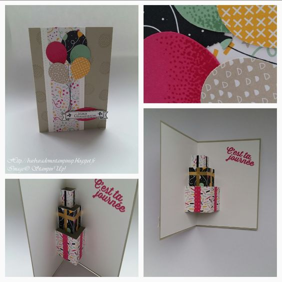 "Le Scrap de Barbara Démonstratrice Stampin'Up: Carte d'anniversaire Pop Up ""Bouquet de ballons"" + Le tutoriel en vidéo."